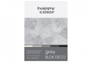 Blok Deco Grey A4, 170g, 20 ark, 5 kol. HAPPY COLOR