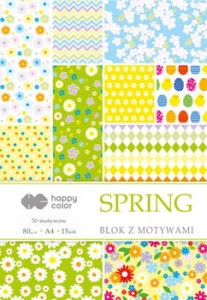 Blok Z MOTYWAMI SPRING A4 HAPPY COLOR