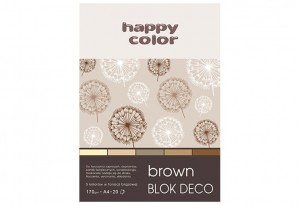 Blok Deco Brown A4, 170g, 20 ark, 5 kol. HAPPY COLOR