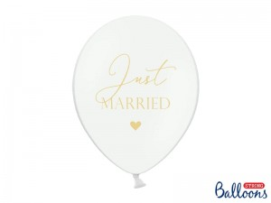 Balony 30cm, Just Married, P. Pure White PartyDeco