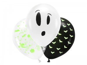 Balony UV 27cm, BOO!, mix PartyDeco