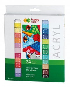 Farba akrylowa 24kol 12ml Mix Kolorów Happy Color